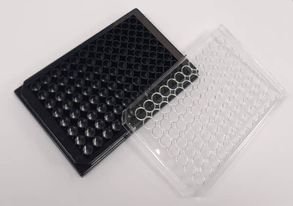 Black glass bottom 96 well plate with lid