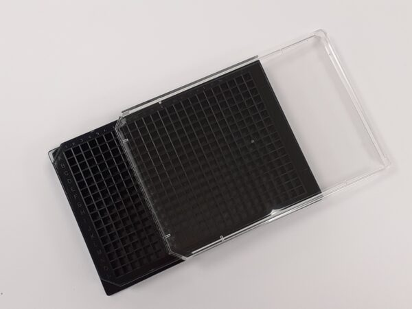 poly-L-lysine cell culture black glass bottom 384 well plate with lid